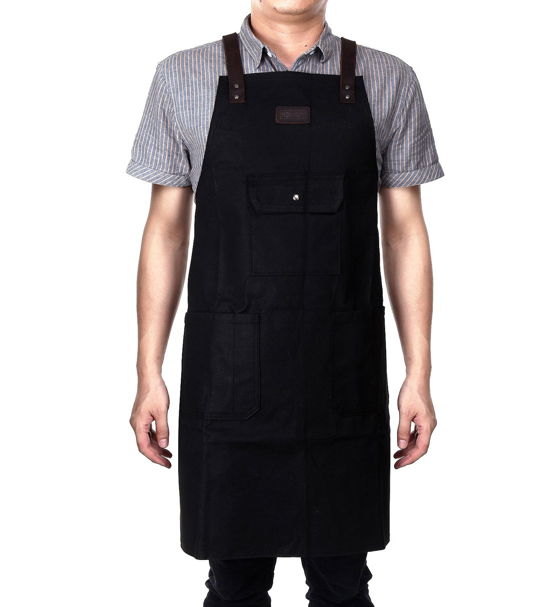 Black Waxed Canvas Work Apron Waterproof With Tool Pockets For Men & Women Utility Heavy Duty Shop Aprons With Long Cross-back Straps Adjustable Size Up To XXL