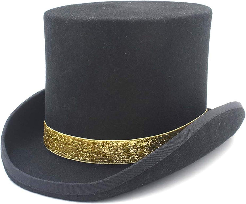 100/% Wool Black Women Men Top Hat for Magician Steampunk Fodora Sam Beaver Party Dad Hat Bling Sequin Ribbon