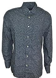 GAP Men's Classic Fit Button Down Floral Shirt 100% Cotton Blue Size Large