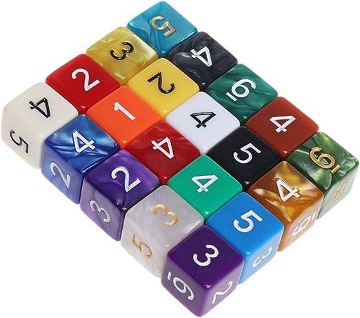 Yinuneronsty - 20 cuentas de 15 mm, multicolor, acrílico, cubo de dedos, 6 lados, juego de mesa portátil: Amazon.es: Hogar