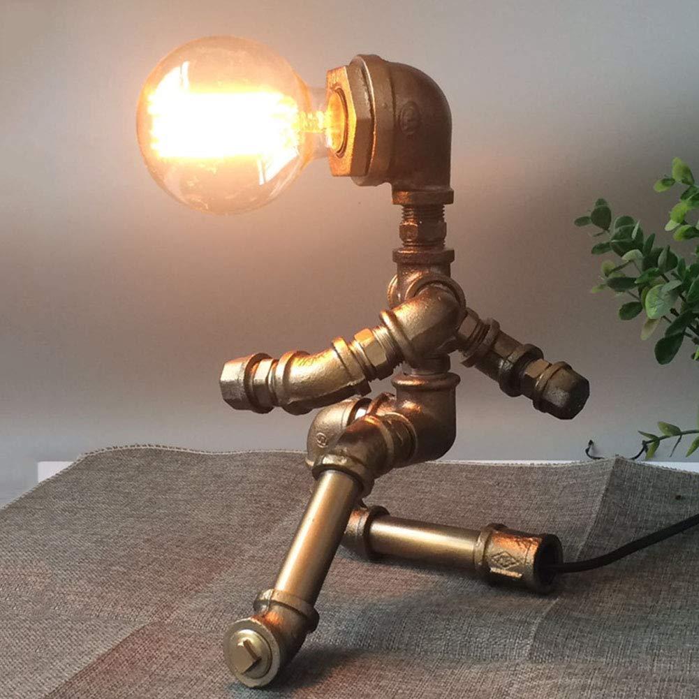 Industrielle Tischlampe, Bartheke Dekoration Erleuchtung Schlafzimmer Nachttischlampe Kreativ Schreibtischlampe Cafe Bar Retro,Brass