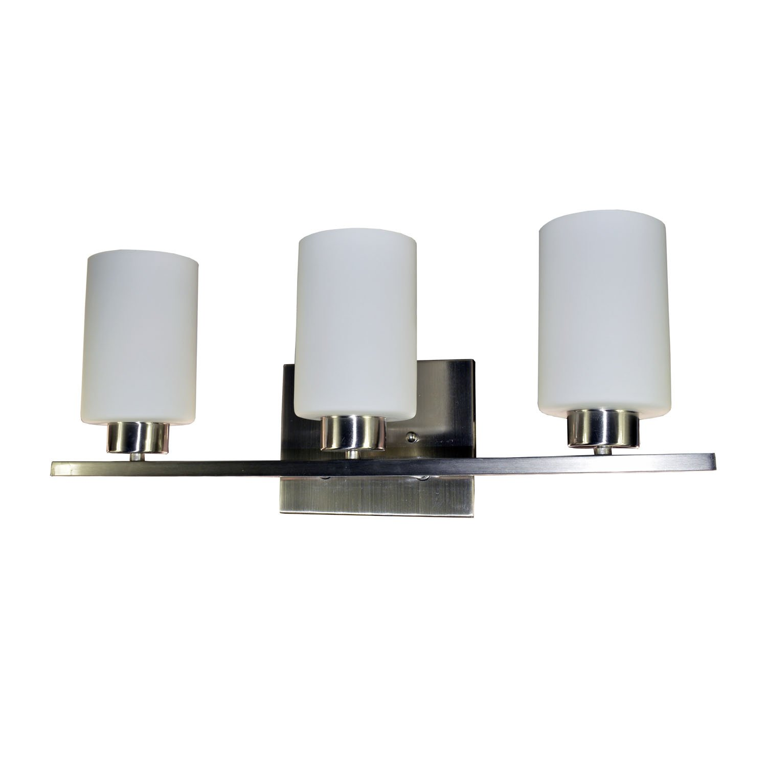 HomeSelects 7530 3-Light Vanity Light, Brushed Nickel with Opal Glass, 5.5 Lx22 Wx8 H
