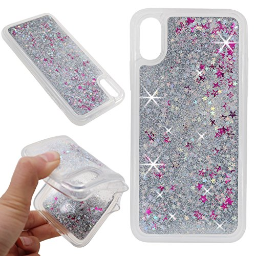 iPhone X Case, NOKEA Soft TPU Flowing Liquid Floating Luxury Bling Glitter Sparkle Case Cover Fashion Design for Apple iPhone X (Silver)