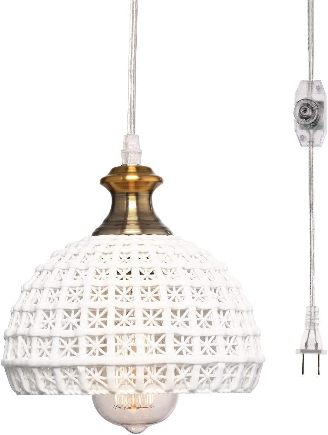 HMVPL Ceramic Plug in Pendant Light Fixture, Unique Swag Ceiling Lamp with 16.4 Ft Hanging Cord and On Off Dimmable Switch for Kitchen Island Table Dining Room Bedroom Entryway 6.9 inches