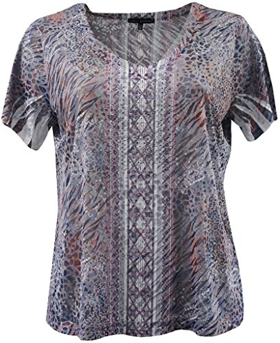 Dreamer P Plus Size Women's Short Sleeve Burnout V Neck Rhinestone Blouse Tee T-Shirt Fashion Top Navy 1X (16.045)