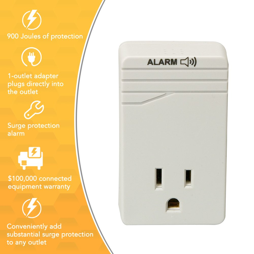 Woods Surge Protector Adapter For 900 Joules Of Electronic Appliance Protection With One 3 Prong Outlet And Alarm Wall Mounted Light Grey Home
