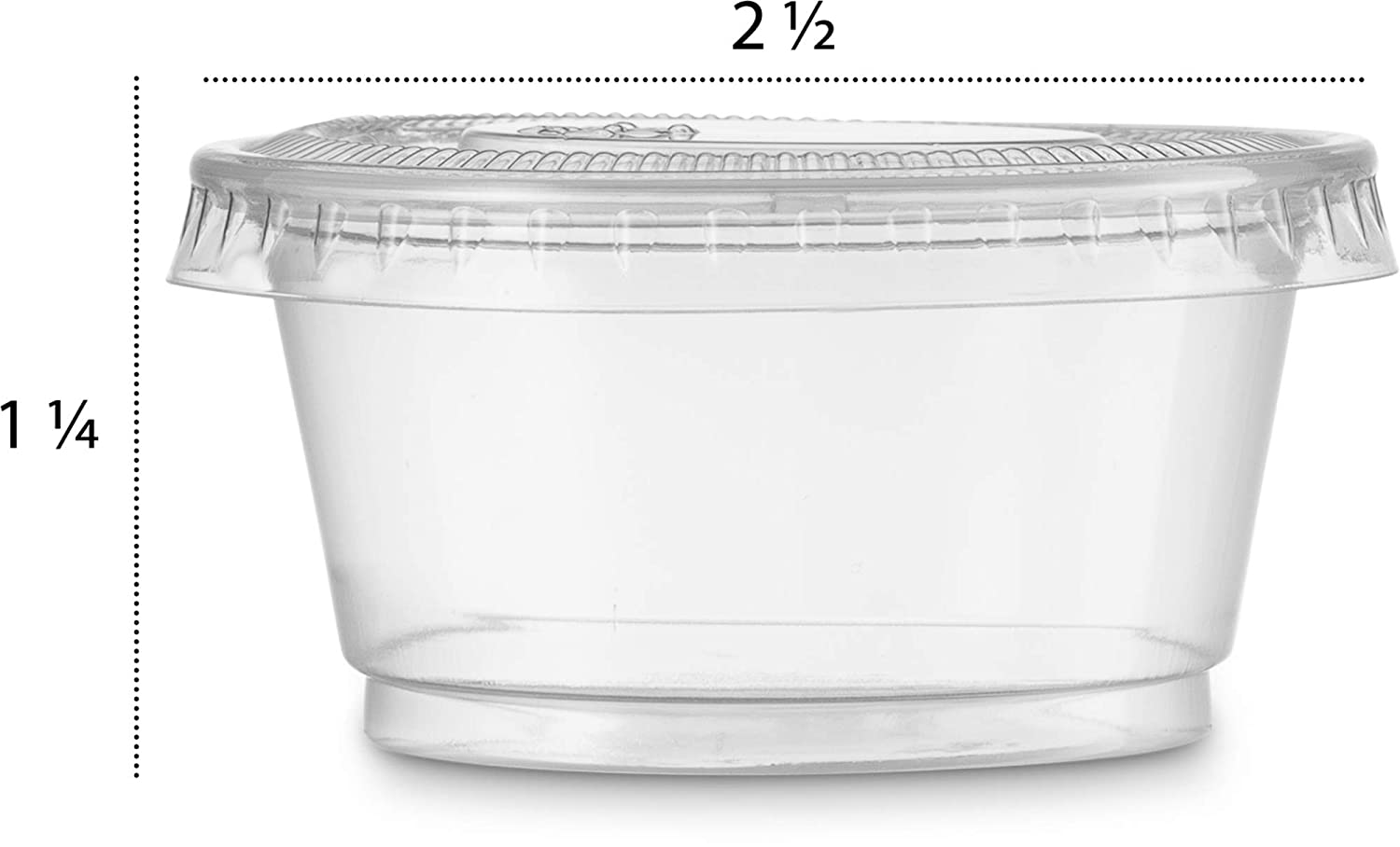 Tight fit Easy Snap-on Lids Clear /& Fully Transparent Durable 2 oz Premium Quality Disposable Plastic Shot Cups Sets 100 Sets Portion Souffle Cups with Lids - Leak-Resistant