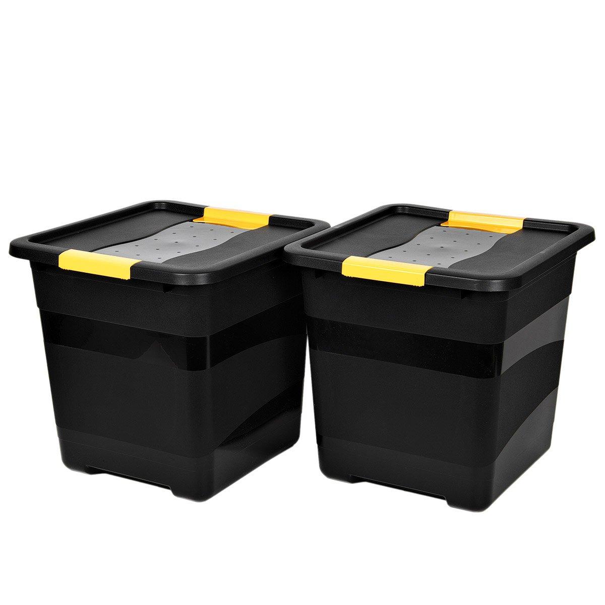 Ma/ße BxTxH in cm: 50 x 40 x 35 Nutzvolumen von ca 42 Liter Stapelbar und nestbar Robuste Transport- und LagerboxTOUGH in Schwarz mit gelben Clips