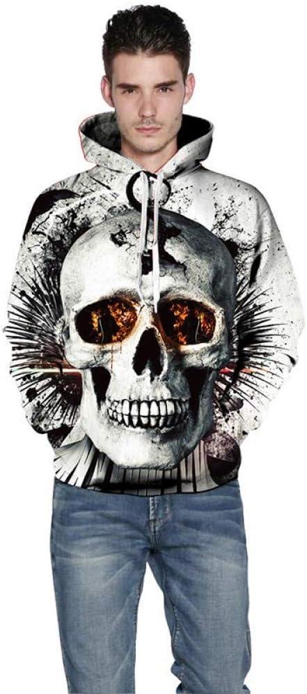 BAI Aassdd 3D Sweatshirts Damen/Herren 3D Sweatshirts Print Fire Eyes Skulls Slim Kapuzenpulli Hoody Blusen,S ** L