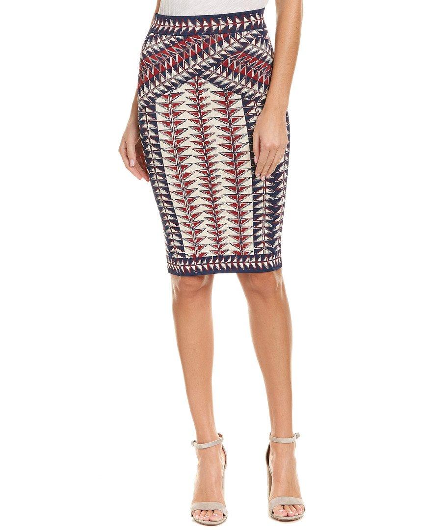 BCBGMAXAZRIA Women's Leger Jacquard Printed Knit Skirt, Dark Midnight Combo, S