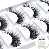 ICYCHEER 5 Pairs Hand-made 3D Real Mink 5 Pairs/Box False Eyelashes Reusable Soft Long Natural Look Black Fake Eye Lashes Winged Messy