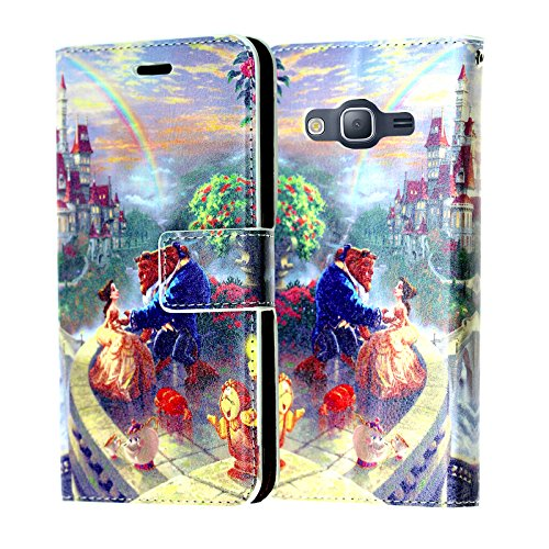 Galaxy On5 Wallet Case, DURARMOR Beauty and The Beast Premium PU Leather Wallet Case with ID Credit Card Cash Slots Flip Stand Wrist Strap Magnetic Closure Carrying Case for Samsung Galaxy On5 /G550