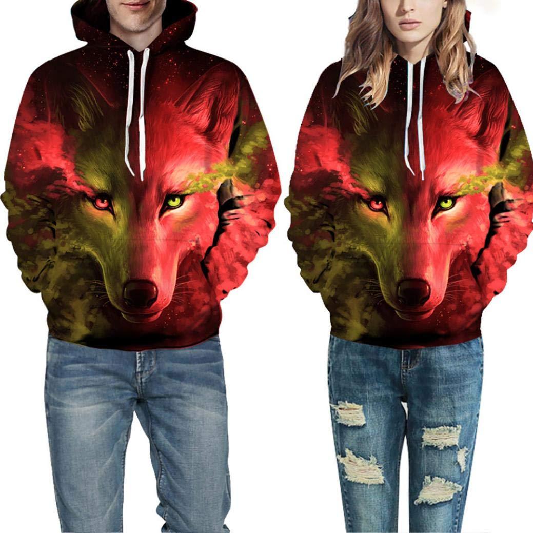 Solike Sweats à Capuche Unisexe 3D Wolf Impression Automne Hiver Homme Femme Sweat-Shirt Manches Longues Manteau Casual Tops Pullover Chemise Blouse de Sport S à 5XL