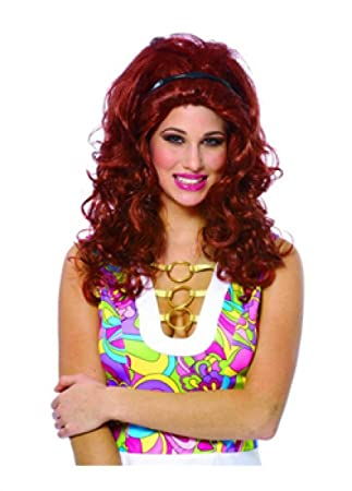 Pelucas mujeres largo rojo oscuro rizado burló carnaval carnaval Halloween Partido 80s