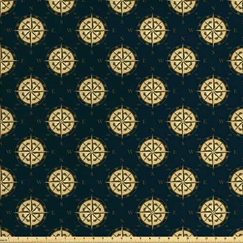 Lunarable Nautical Fabric by The Yard, Vintage Compass and Wind Rose Pattern on Dark Color Cruise Travel Theme, Decorative Fabric for Upholstery and Home Accents, 1 Yard, Dark Blue Brown Cream