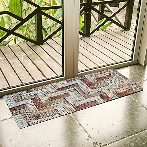 (Ustide Floor Rug for Kitchen Runner Nonslip Rubber Backed Mat Wood Printed Rug Durable Waterproof Carpet for Home/laundry Rugs 1.7'x4')