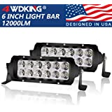 LED Light Bar 6 Inch 2PCS , 4WDKING USA Design IP68&IP69K Waterproof Premium LED Combo Off Road Work Light Truck Fog Lamp Mou