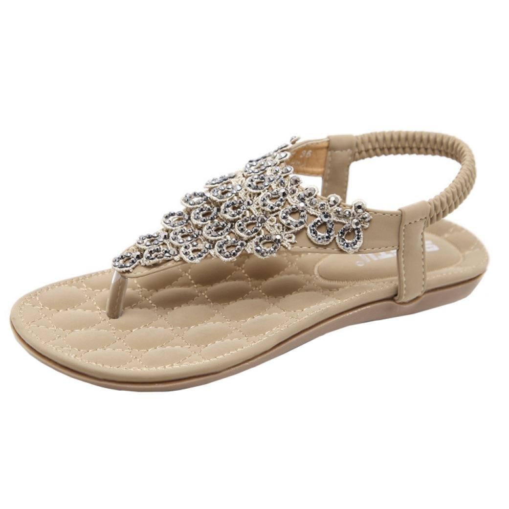 Women Flat Shoes Bead Bohemia Lady Slippe Sandals Peep-Toe Outdoor Shoes (US:8,CN:41, Yellow)
