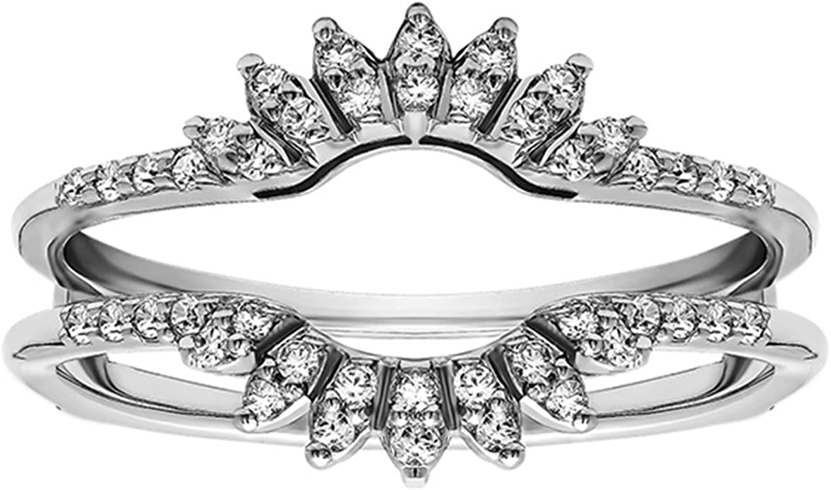 Art Deco Wedding Band Solitaire Enhancer Wrap Simulated Diamond Insert Ring Guard 1.00ct Sterling Silver 925