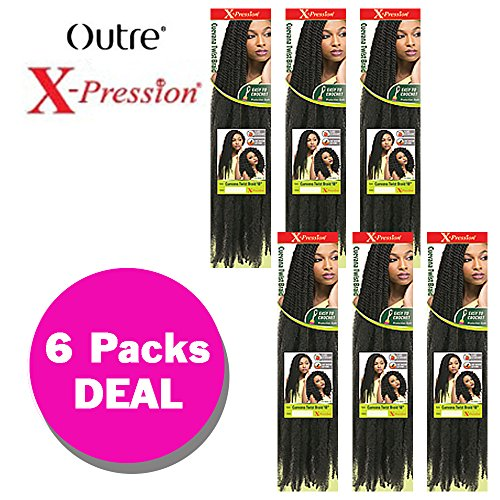Cuevana Twist Braid  6 Pack 1B    Outre X Pression Synthetic Crochet Braiding Hair