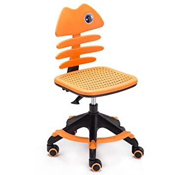 Children Desk Office Swivel Chair Kids Study Chairs Teens Adjust Back  (Orange)