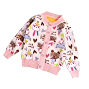 ZHUANNIAN Infant Baby Girls Fleece Jacket Cartoon Long Sleeve Cardigan  Sweater(12-18months Tag10 1984d1519