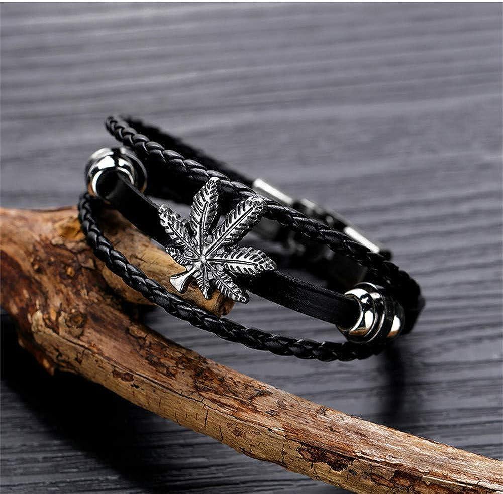 Noir Brun Aruie Bracelet pour Homme en Cuir Alliage avec Feuille de Canabis Triple Tress/é Vintage Fait Main Bijoux