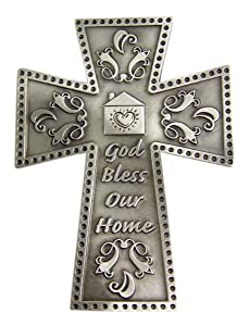 God Bless Our Home Pewter Wall Cross 4 7/8 Inch
