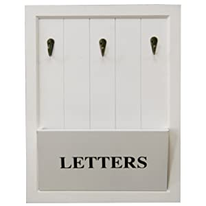 Wooden White Letter Holder Rack With 3 Key Hooks ~ Letter And Key Rack