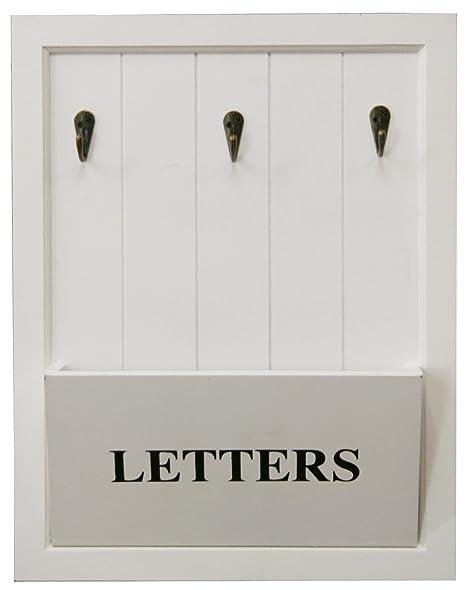 Wooden White Letter Holder Rack With 3 Key Hooks ~ Letter And Key ...