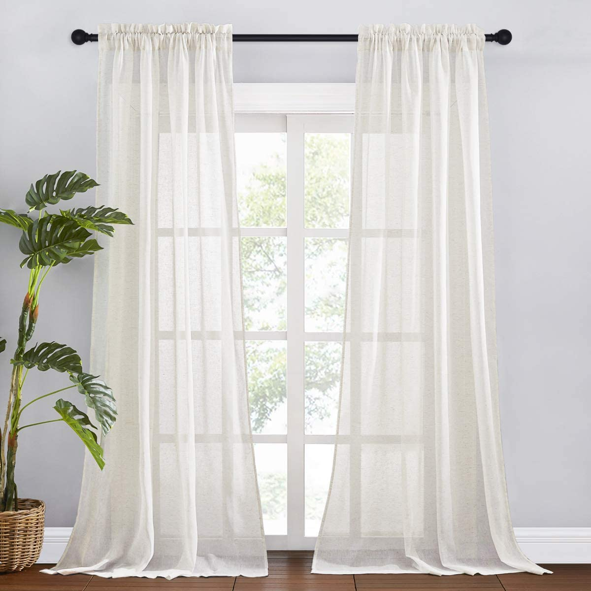 RYB HOME Linen Curtains Semi Sheer Drapes 108 inches Long Rod Pocket Flax Blended Curtains Sunlight Filering Privacy Add for Bedroom Living Room Dining, Ivory, W 52 x L 108 inch, 2 Panels