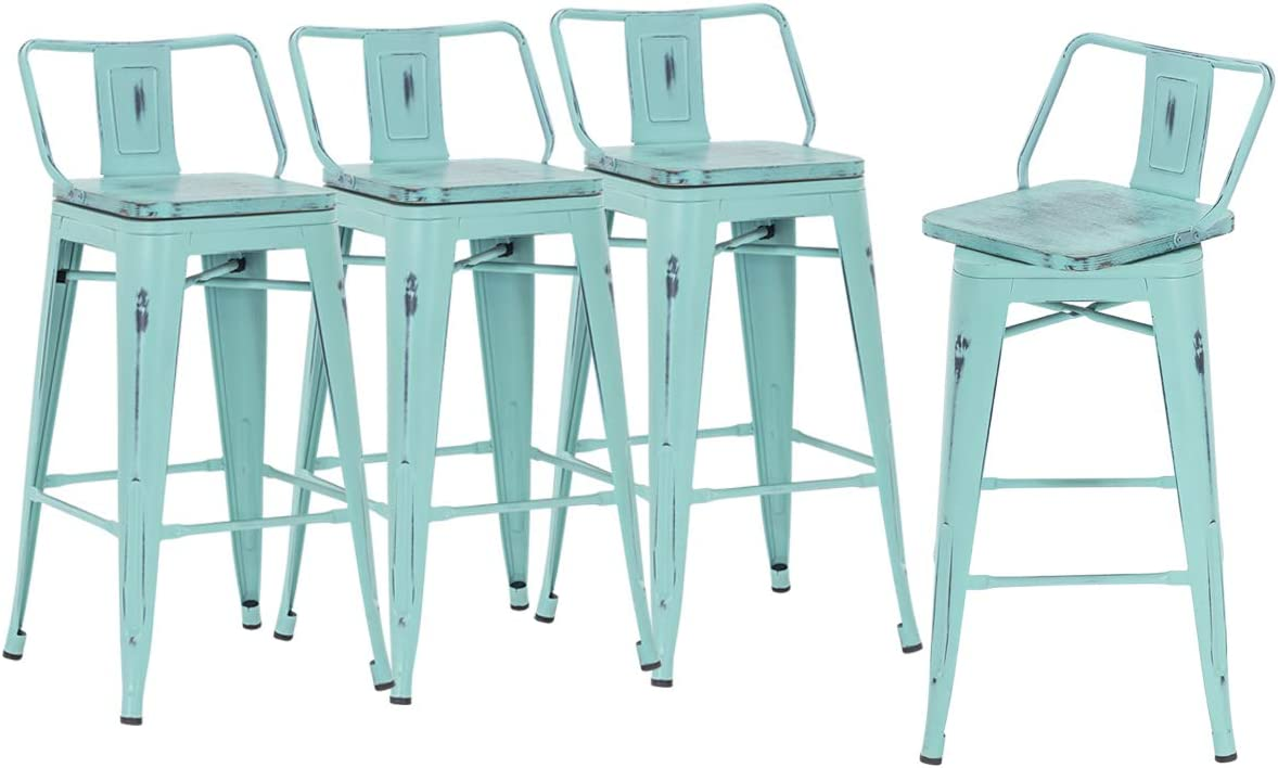 HAOBO Home 30 Industrial Low Back Swivel Bar Stools Distressed Green-Blue Metal Barstools Counter Height Stools with Wooden Seat Set of 4