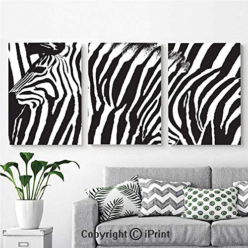 Wall Art Decor 3 Pcs High Definition Printing Zebra Design with Animal Blended Over Itself to Create an Abstract Pattern Decorative Painting Home Decoration Living Room Bedroom Background,16