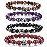 Buddha 8mm Beaded Bracelet for Women Men Gemstone Chakra Bracelet Jewelry for Birthday Gifts (4PCS)