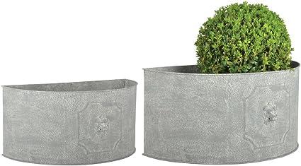 Esschert Design Am Lowe Blumentopf 2er Set Halbrund 42 2 X 22 X 20 49 2 X 26 X 23 8 Cm Aus Aged Metall Antikes Design Grau Amazon De Garten