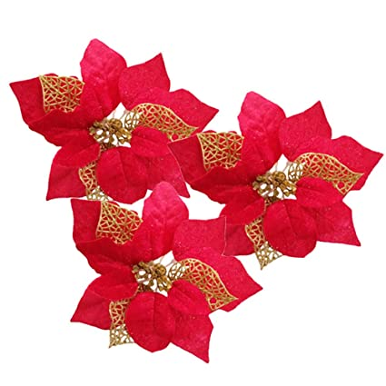 red pack of 12 glitter artificial wedding christmas flowers glitter poinsettia christmas tree ornaments red - Poinsettia Christmas Decorations