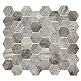 Hexacycle Charcoal Grey - Grey Hexagon Wood Pattern Recycled Glass Tile for Backplashes, Wall, Floors (6 Sheets)