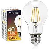 フィラメント LED電球 E26口金 クリア電球 40W形相当 4W 電球色 450lm クリアタイプ エジソン レトロ電球 A60 照明 360度発光 雰囲気重視 【1個入り】