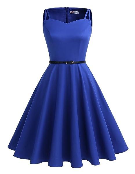 ALAGIRLS Vestido Vintage 1950s Rockabilly Mujer Sin Manga para Fiesta Azulreal XS