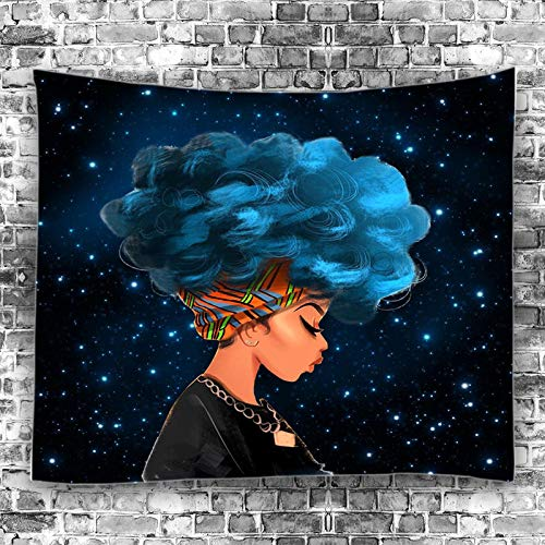 Unitendo African American Black Girl Colourful Print Wall Hanging Tapestries Indian Polyester Picnic Bedsheet Afro Wall Art Decor Hippie Tapestry, 80''X 60'' Beautiful Girl with Blue Hair. ()