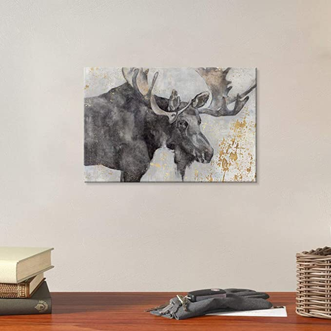 Amazon Com Seven Wall Arts Alces Trail I By Pi Creative Art Vintage Wildlife Canvas Print Animal Moose Deer Wall Pictures Giclee Print On Canvas Stretched Artwork For Living Room Bedroom Office Decor