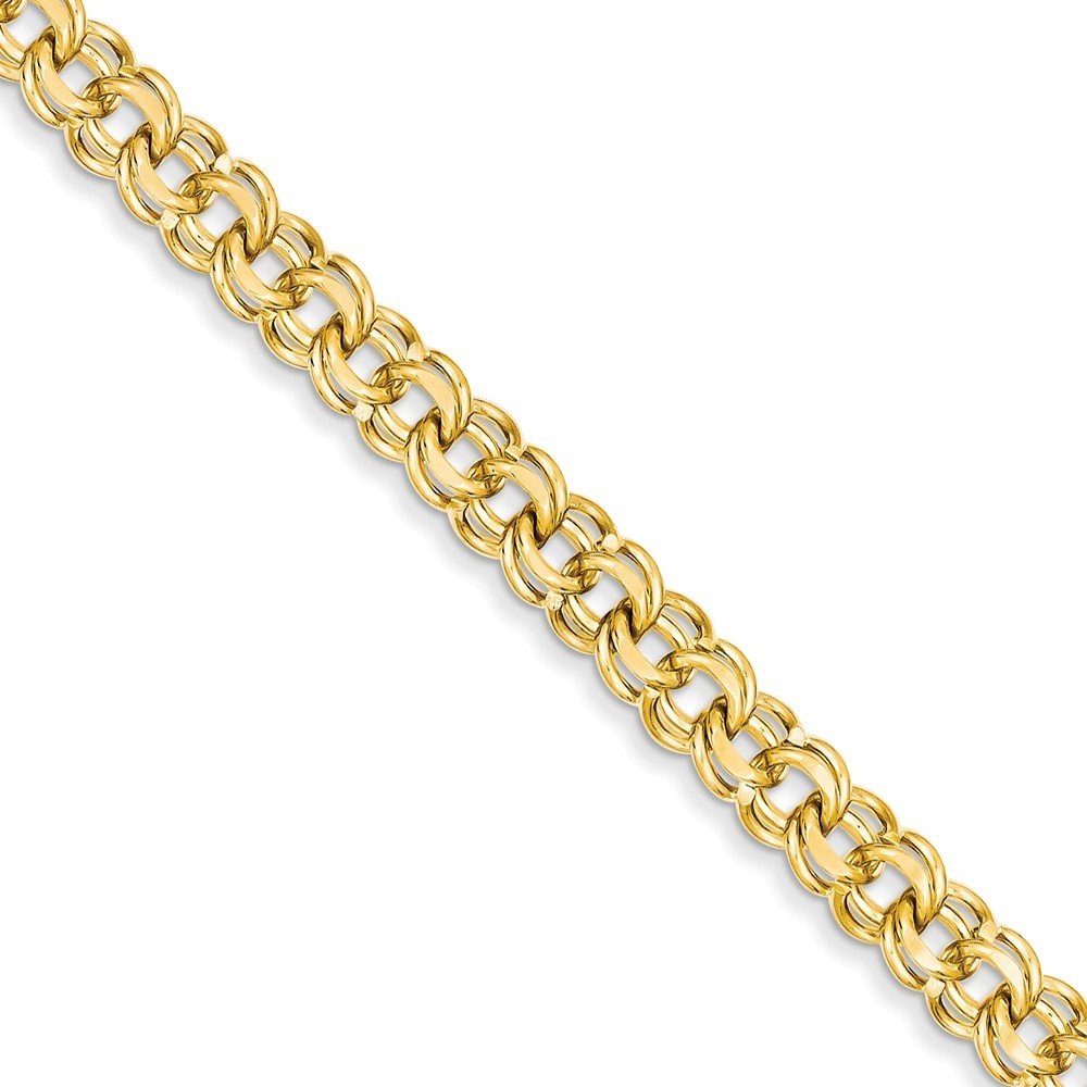 FB Jewels 14K Yellow Gold 8in 7.5mm Solid Double Link Charm Bracelet