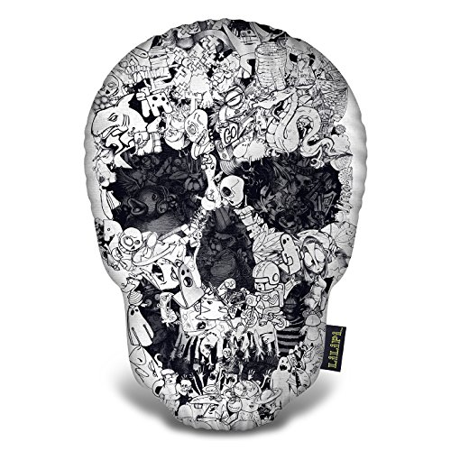 LiLiPi Doodle Skull Bw Tee Decorative Accent Throw (Accent Tee)