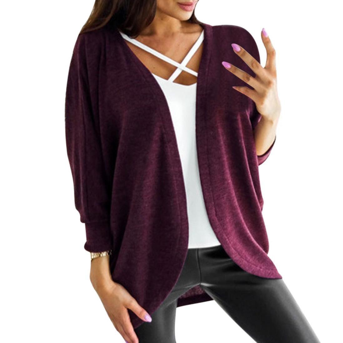 Hot Sale!Women's Cardigans Neartime Womens Kintted Cardigan Asymmetric Sweater Hem Long Sleeve Coat Tops (L, Purple)