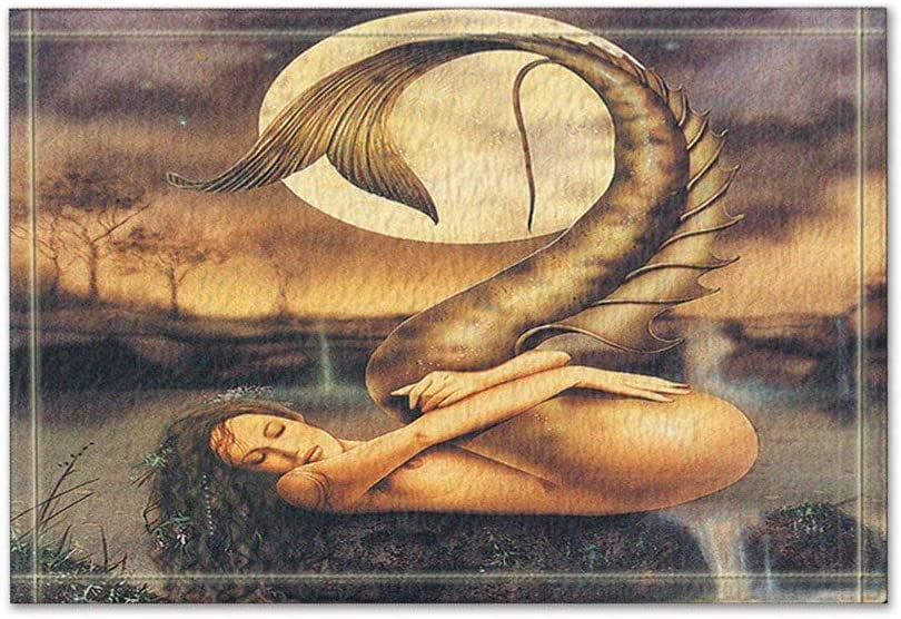 Nyngei Sirena Desnuda en la luz de la Luna Alfombras de baño Antideslizante Entrada de Suelo Alfombra de Puerta de Entrada al Aire Libre, 16X24 Pulgadas Alfombra de baño