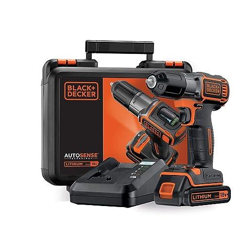 BLACK DECKER ASD18K QW Taladro Atornillador 18V Autosense y Autoselect incluye batería litio 1 5Ah y maletín