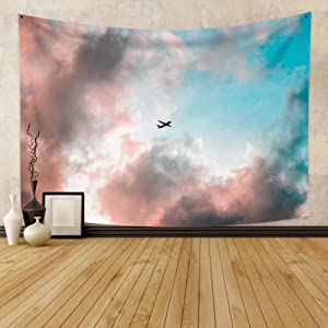 """Hidecor Nature Scenery Tapestry Plane Through Pink Gray Cloud Formation Blue Sky Heaven Landscape Polyester Wall Hanging Decoration for Living Room Bedroom Dorm Home Decor 39.4""""x27.6"""""""