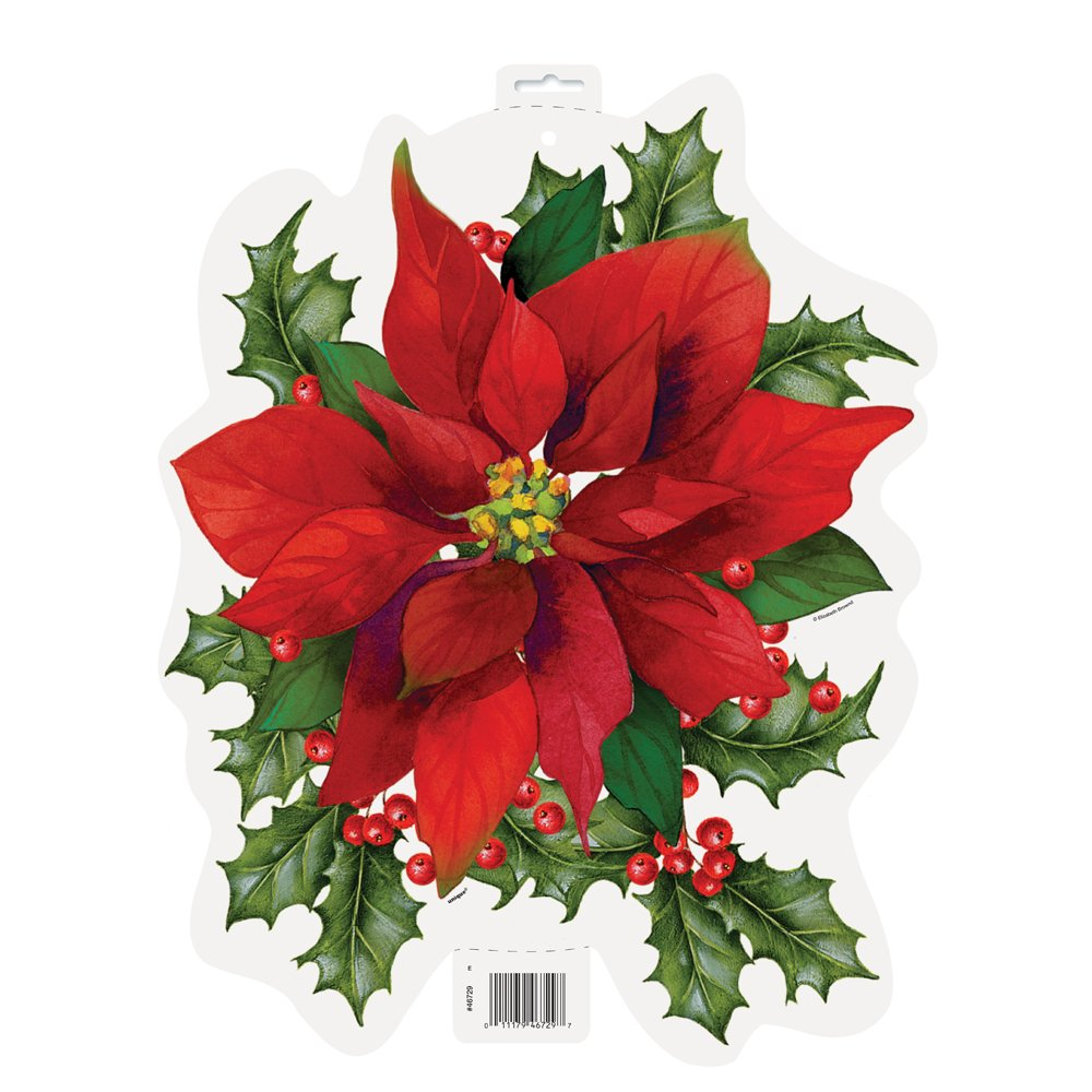 16.5'' Paper Cutout Holly Poinsettia Holiday Decoration