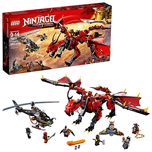 LEGO NINJAGO Masters of Spinjitzu: Firstbourne 70653 Ninja Toy Building Kit with Red Dragon Figure, Minifigures and a Helicopter (882 Pieces)]()