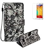 Funyye Wallet Premium Leather Case for Samsung Galaxy S8,Creative 3D Black Lace Painted Pattern Strap Magnetic Flip Cover with Card Holder Slots Case for Samsung Galaxy S8,Shockproof Ultra Thin Slim Fit Case for Samsung Galaxy S8 + 1 x Free Screen Protector